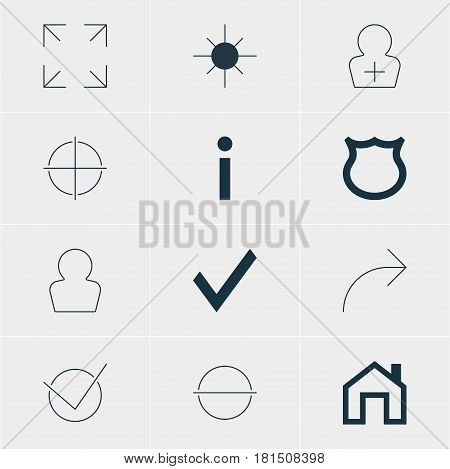 Vector Illustration Of 12 User Icons. Editable Pack Of Wide Monitor, Share, Register Account And Other Elements.