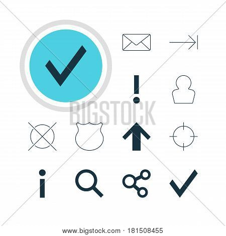 Vector Illustration Of 12 User Icons. Editable Pack Of Alert, Seek, Publish And Other Elements.
