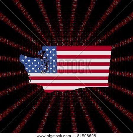 Washington map flag on red hex code burst 3d illustration