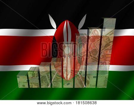 Currency graph on rippled Kenyan flag 3d illustration