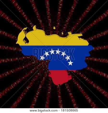Venezuela map flag on red hex code burst 3d illustration