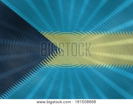 Bahamas flag background with ripples and rays illustration
