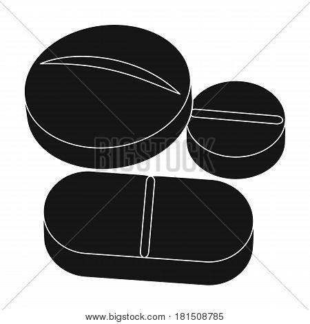 Medicinal tablets.Medicine single icon in black style vector symbol stock illustration .