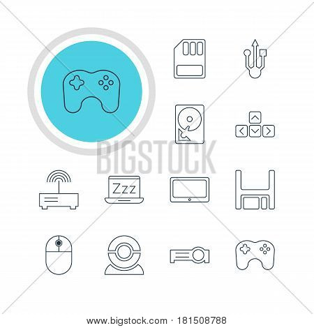Vector Illustration Of 12 Laptop Icons. Editable Pack Of Cursor Manipulator, Router, Diskette And Other Elements.