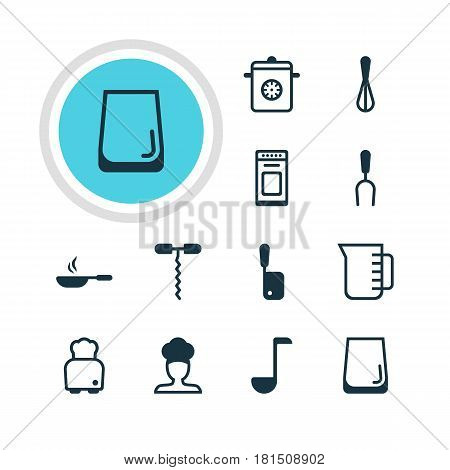 Vector Illustration Of 12 Kitchenware Icons. Editable Pack Of Cook, Oven, Steamer And Other Elements.
