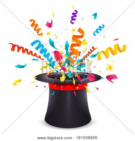 Black cylinder hat with red ribbon isolated on white background. Magic hat with surprise confetti explosion. Fun trick for holiday. Scattering colorful confetti. Abstract vector illustration