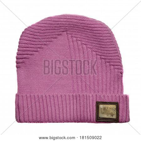 Women's Hat . Knitted Hat Isolated On White Background . Pink Hat