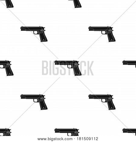 Military handgun icon in black style isolated on white background. Military and army pattern vector illustration