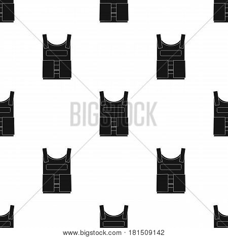 Army bulletproof vest icon in black style isolated on white background. Military and army pattern vector illustration