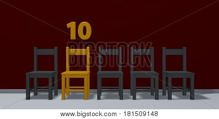 number ten and row of chairs - 3d rendering