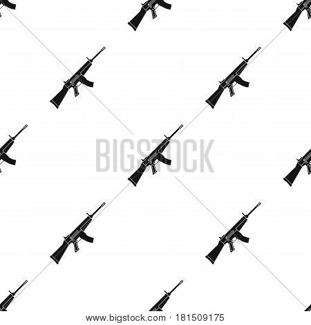 Military assault rifle icon in black style isolated on white background. Military and army pattern vector illustration