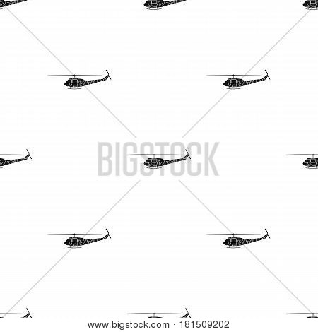 Military helicopter icon in black style isolated on white background. Military and army pattern vector illustration