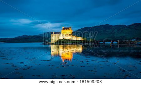 Wonderful Dusk Over Loch At Eilean Donan Castle In Scotland