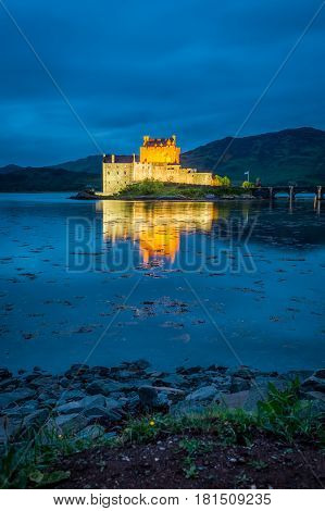 Sunset Over Lake At Eilean Donan Castle, Scotland, United Kingdom