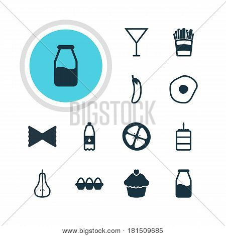 Vector Illustration Of 12 Cuisine Icons. Editable Pack Of Cruet, Duchess, Muffin And Other Elements.