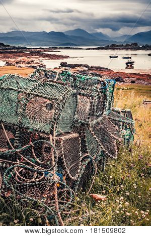 Closeup Of Colored Cage For Lobster On Shore, Scotland