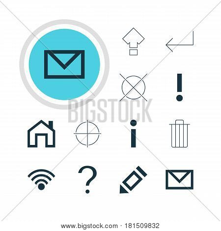 Vector Illustration Of 12 Interface Icons. Editable Pack Of Letter, Garbage, Info And Other Elements.