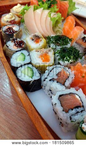 A combination of fresh sushi and sashimi