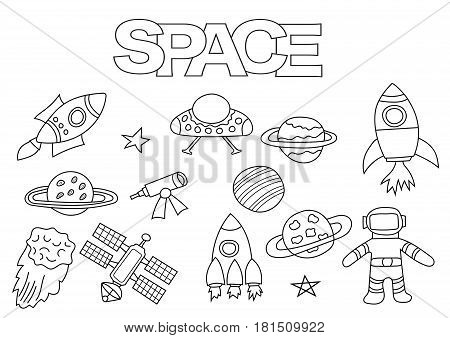 Space elements hand drawn set. Coloring book template.  Outline doodle elements vector illustration. Kids game page.