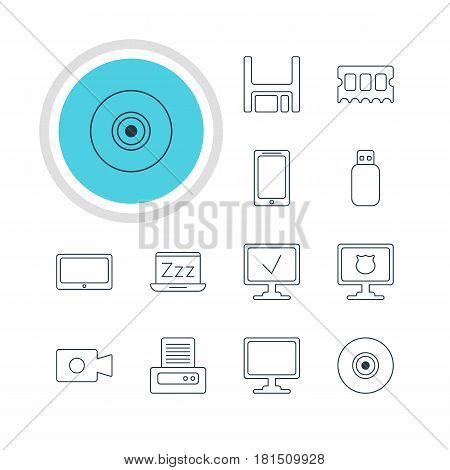 Vector Illustration Of 12 Laptop Icons. Editable Pack Of Laptop, Printer, Objective And Other Elements.