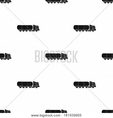 Oil tank trucker icon in black style isolated on white background. Oil industry pattern vector illustration.