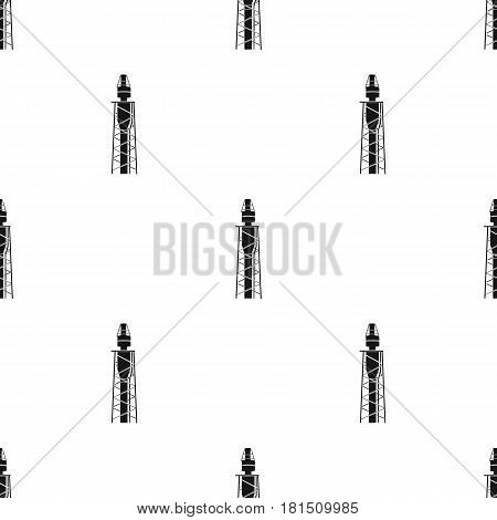 Oil rig icon in black style isolated on white background. Oil industry pattern vector illustration.