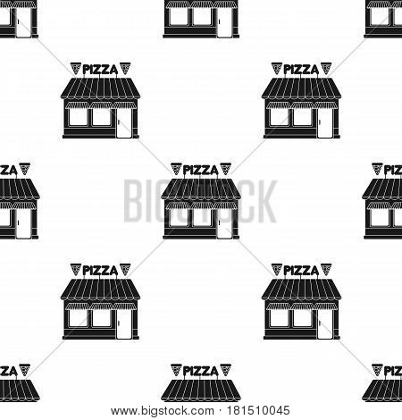 Pizzeria icon in black style isolated on white background. Pizza and pizzeria pattern vector illustration.
