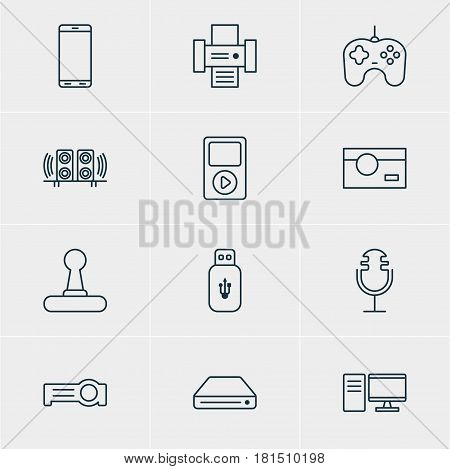 Vector Illustration Of 12 Gadget Icons. Editable Pack Of Joypad, Loudspeaker, Floodlight And Other Elements.