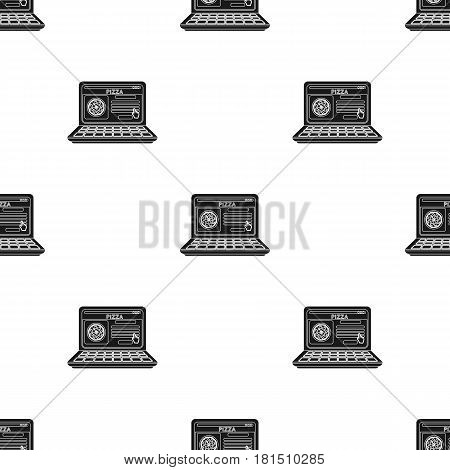Online pizza icon in black style isolated on white background. Pizza and pizzeria pattern vector illustration.