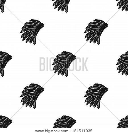 War bonnet icon in black style isolated on white background. USA country pattern vector illustration.