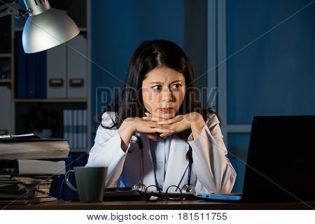 Thoughtful Woman Practitioner Having Problem