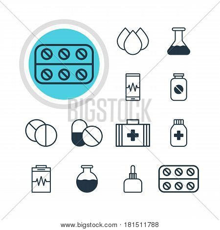 Vector Illustration Of 12 Medical Icons. Editable Pack Of Trickle, Medicine Jar, Aspirin And Other Elements.