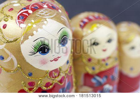 Russian Traditional Dolls Matrioshka - Matryoshka or Babushka on black background