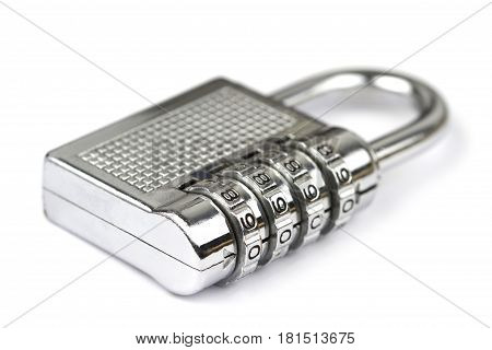 Combination pad locks on white background .