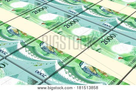 Vanuatu vatu bills stacked background. 3D illustration.