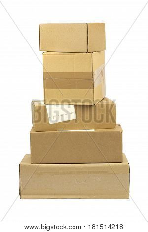 Brown post packages isolated on white background .