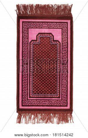 Prayer rug for muslims on white background