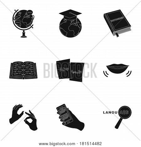 Teaching Chinese in Russia. Translation of the Chinese language.Interpreter ang translator icon in set collection on black style vector symbol stock web illustration.