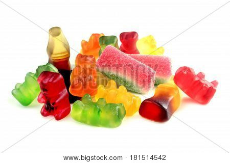 Colorful soft sweets on white background .