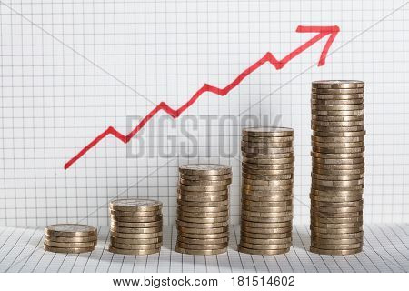 Increasing Piles Of Coins With Going Up Red Arrow On Square Pattern Background