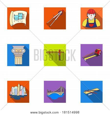 A set of icons on the theme of construction and architects. Builders, architects, and subjects for construction . Architect icon in set collection on flat style vector symbol stock web illustration.