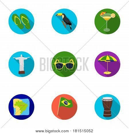 set of icons on the subject of Brazil. Brazilian national attractions. Brazil country Aicon in set collection on flat style vector symbol stock web illustration.