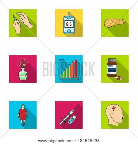 A set of icons about diabetes mellitus. Symptoms and treatment of diabetes. Diabetes icon in set collection on flat style vector symbol stock web illustration.