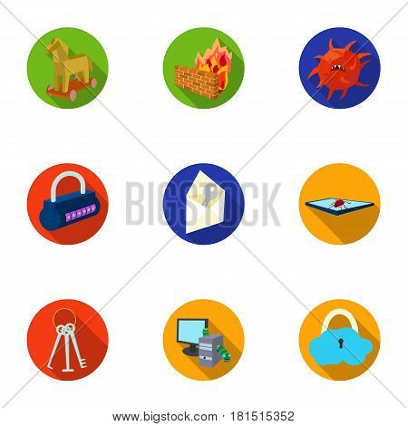 A selection of icons about protection and breaking. Modern technology of protection against breaking. Hackers and hacking icon in set collection on flat style vector symbol stock web illustration.