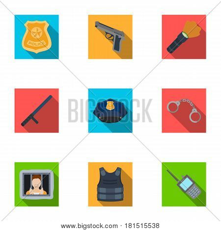 Police equipment, police, prisoners, protection of citizens.Police icon in set collection on flat style vector symbol stock web illustration.