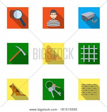 Set of images about the prison and prisoners. Surveillance of thieves, court, crime and punishment.Prison icon in set collection on flat style vector symbol stock web illustration.