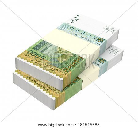West African CFA francs bills isolated on white background. 3D illustration.
