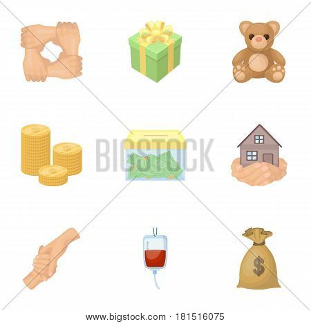 Charitable Foundation. Icons on helping people and donation.Charity and donation icon in set collection on cartoon style vector symbol stock web illustration.
