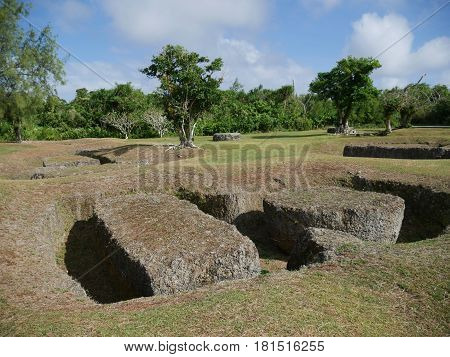 Taga Latte Stone Quarry, Rota Also known as the As Nieves Quarry, the latte stone quarry has the largest megaliths in the northern mariana islands land listed in the National Register of Historic Places near the Chamorro village in Sinapalo, Rota.