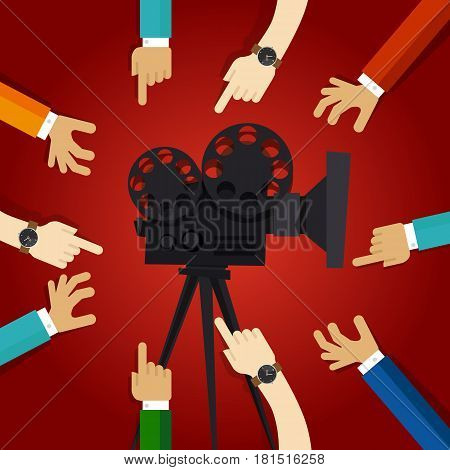 movie cinema entertainment together friendship hands to retro projector teamwork working on video production vector
